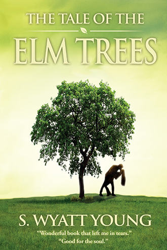The cover of The Tale of the Elm Trees depicts a man and woman kissing beneath an elm tree as the sun shines brightly from the far side of the tree.