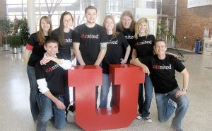 A group of eight Utenited members serve at the University of Utah's Student Preview Day.